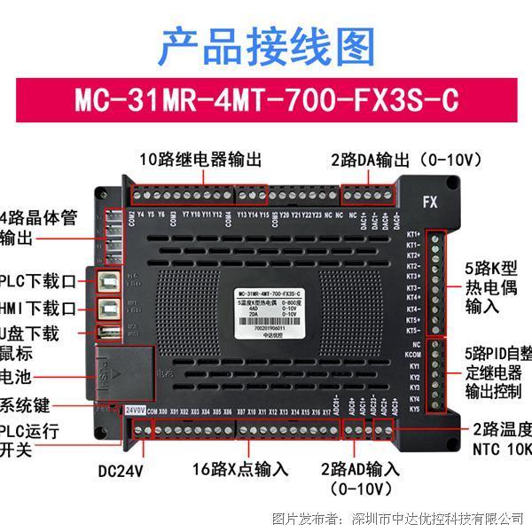 中達優控7尺寸一體機MC-31MR-4MT-700-FX3S-C