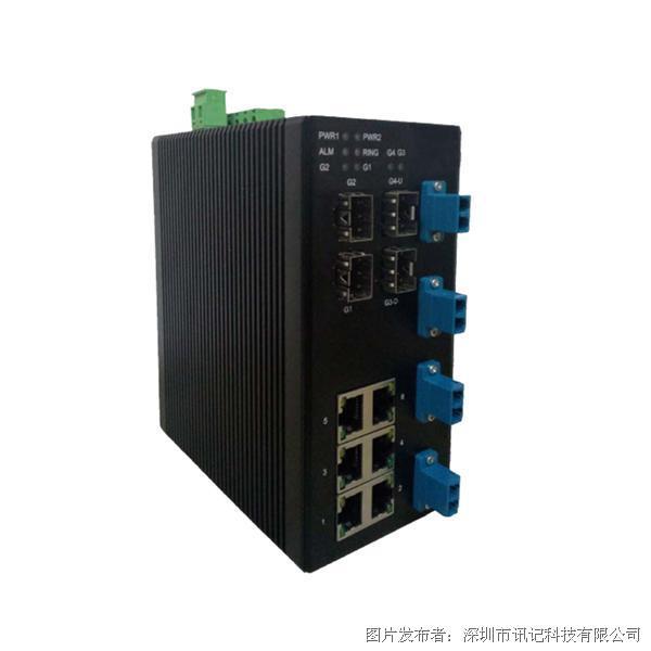 讯记科技10口千兆网管型 Bypass 工业以太网交换机