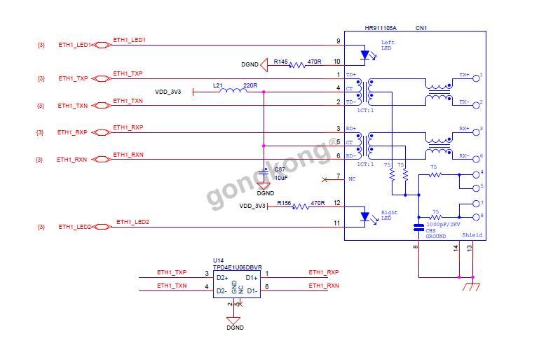 以太网phy芯片使用的是microchip的lan8720a,分别通过rmii方式连接到
