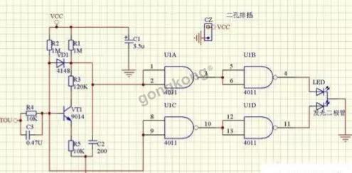 ic1使用四电压比较集成电路lm324中的两个比较器.