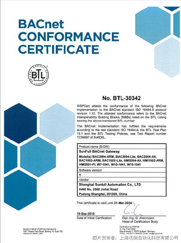 BTL认证!迅饶网关产品获得国际认证!