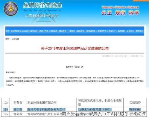 """新风光:公司荣获""""山东名牌""""产品称号"""