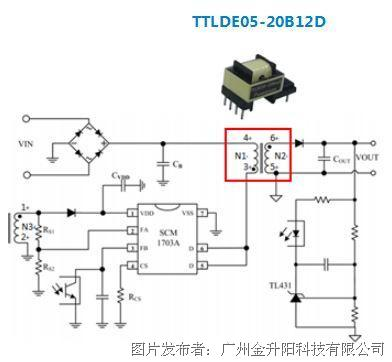 適用于5W以下的AC/DC汽車級隔離直插式變壓器 ——TTLDE05-20B-D系列