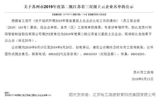 HRG哈工海渡入选2019年度第二批十分钟时时彩江苏 省三星级上云十分钟时时彩企业